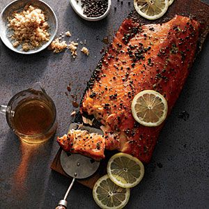Smoked Salmon, Barbecue University-Style | MyRecipes.com This whisky-scented smoked salmon combines the virtues of hot smoking and cedar planking. The dry brine in a sugar-salt mixture seasons the fish wonderfully.