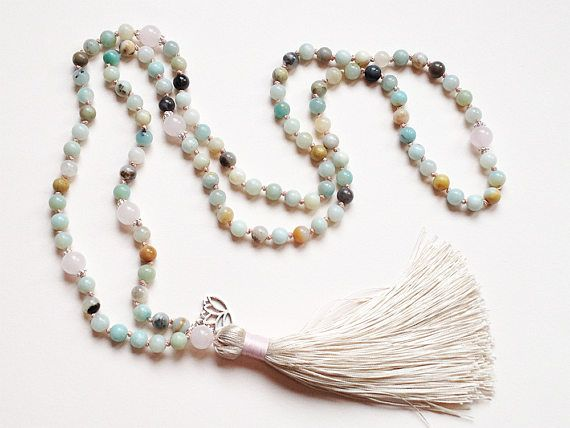 Noués mala 108 mala collier noués perles de prière pompon