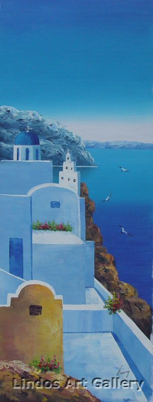 Santorini Blue Seaview Oil Painting