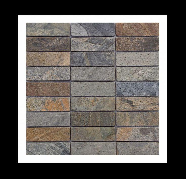 """Naturstein Quarzit Mosaik Fliesen - Quarzit ist sehr """"dicht"""", weist also eine geringe Porosität auf. Entsprechend beständig und widerstandsfähig ist dieser ausgesprochen harte Naturstein. Als Badezimmerfliesen, Saunafliesen, Kaminfliesen, in der Designerküche, am Pool, in der Sauna, am Kamin, auf Terrassen, usw. anwendbar. #mosaik #bodenfliesen #natursteinmosaik #mosaikfliesen #naturstein #wandfliesen #cut #quarzitfliesen, #fliesen #heimwerken #diy #wohnen #badezimmer #quarzitmosaik #quarzit"""