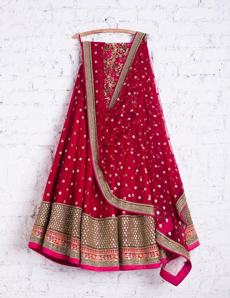SwatiManish Lehengas SMF LEH 221 17 Lipstick red lehenga with sequin dupatta and floral threadwork sequin blouse