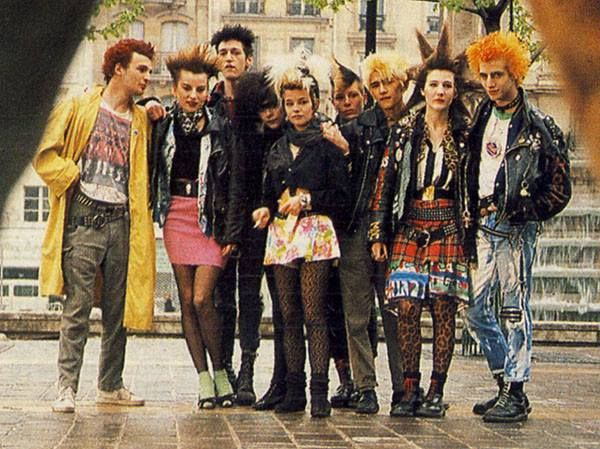Chorus members from Sweeney Todd in 80s punk fashion