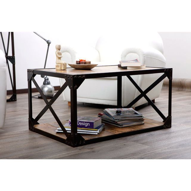 25 best ideas about table basse bois massif on pinterest table basse bois - Table basse verre roulette industrielle ...