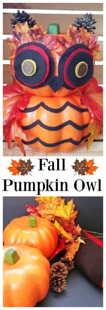 Create a Fall Pumpkin Owl with Dollar Tree foam pumpkins and fall leaves