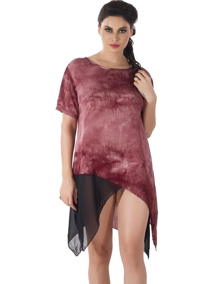 Shyle Maroon Loose Fit Shift Dress