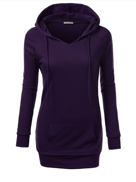 Comfortable Hooded With Pockets Plain Hoodies Hoodies from fashionmia.com