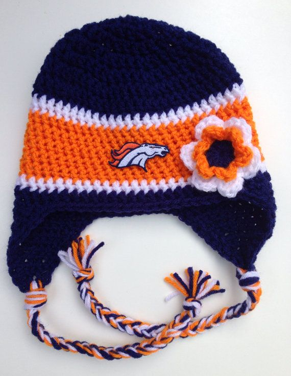 Denver Broncos Crochet Hat in Navy Blue