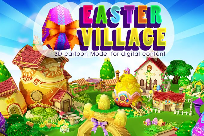 Cartoon Easter Village  by Souchenki on @creativemarket