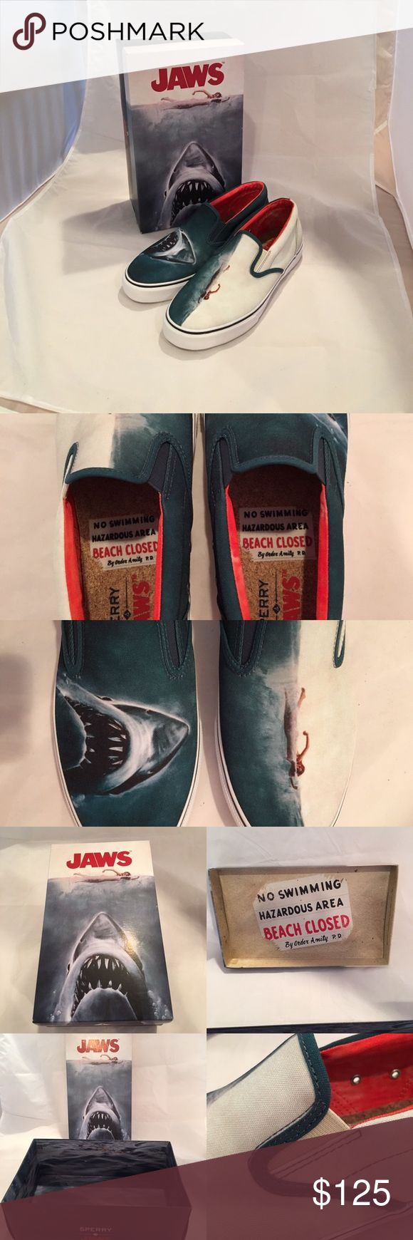 "Sperry's Limited Edition ""JAWS"" boat shoes. Awesome shoe with awesome packaging. Size 11M. Price is firm. Sperry Top-Sider Shoes Boat Shoes"