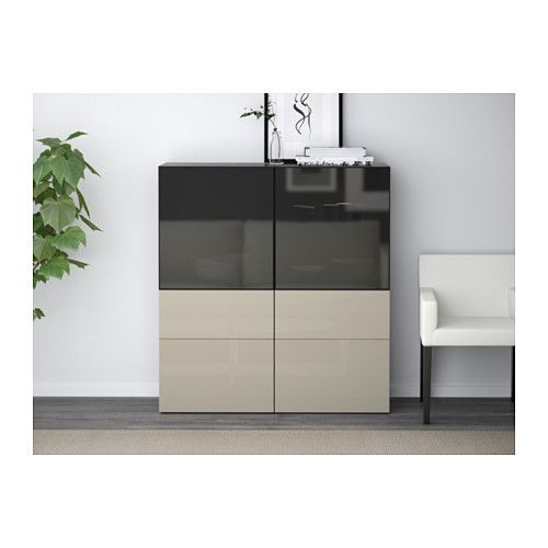 BESTÅ Storage Combination W/glass Doors, Black-brown