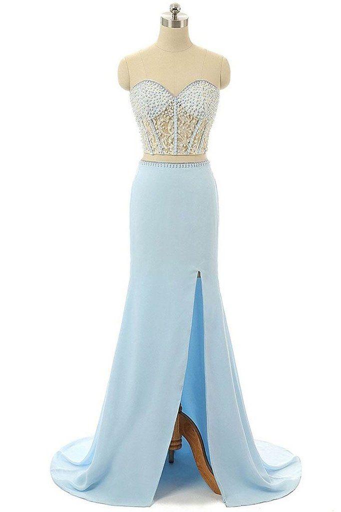 Light blue chiffon sequins beading sweetheart slit long dresses,casual dresses