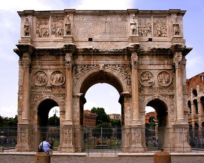 Arch of Constantine has a dual military and religious significance. The history of the Arch of Constantine lies in the struggle between different factions who both claimed control of the Roman Empire. The arch celebrates the Emperor Constantine's military victory of Maxentius at the Battle of Milvian Bridge in 312 AD.