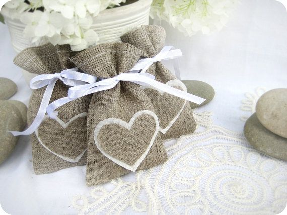 Set of 100 Wedding favor bags- Natural Rustic Linen Wedding Favor Bag with hearts or Candy Buffet Bag or Gift Bag via Etsy