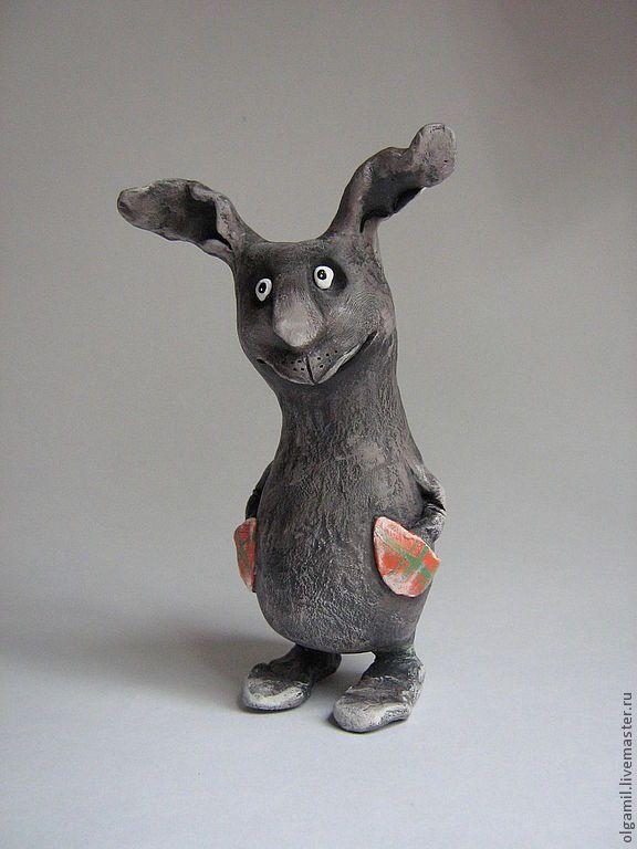 Купить Заяц с карманами - тёмно-серый, заяц, зайчик, смешная игрушка, подарок, ручная работа