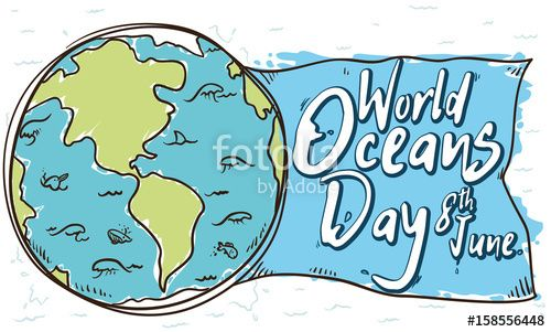 Marine Fauna and World in Doodle Style for Oceans Day