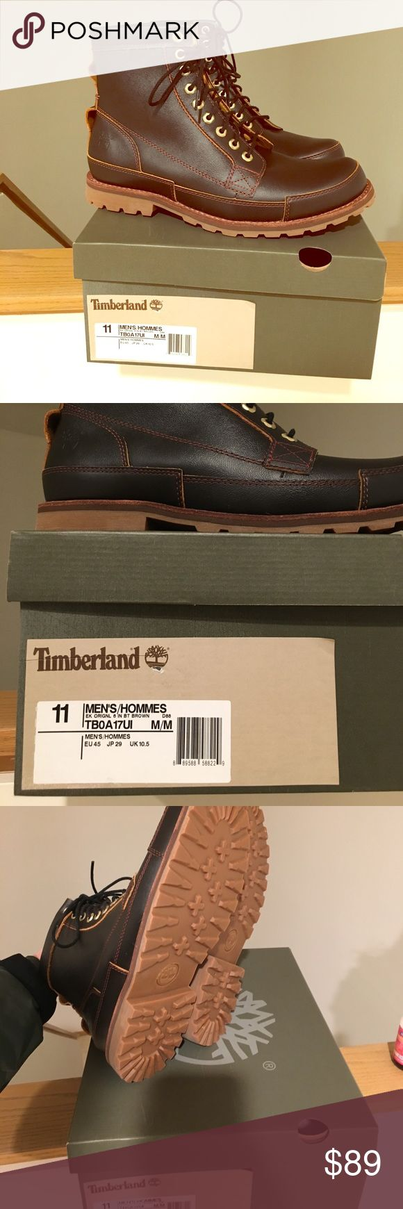 New brown Timberland boots, size 11 Men's size 11 brown timberland boots, new in box. Pic lighting difficult to show the actual color - they are brown not black. Retail $170!! Timberland Shoes Boots