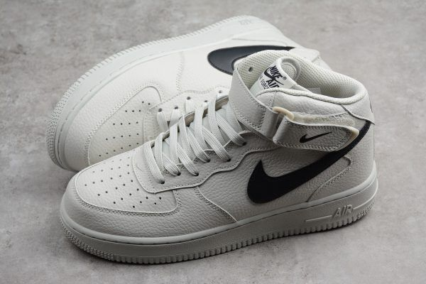 Men's and Women's Nike Air Force 1 Mid '07 Light Bone Black