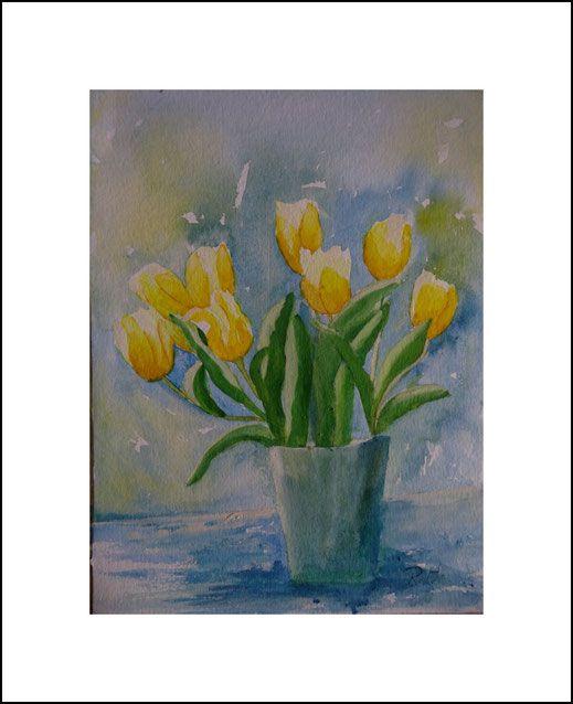 aquarell blumenstrau tulpenstrau blumen tulpen gelb blau malen bild kunst aquarell. Black Bedroom Furniture Sets. Home Design Ideas