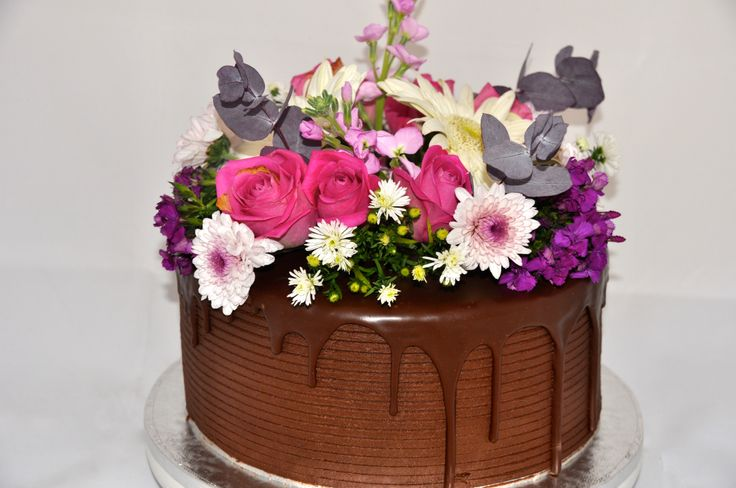 Mothers' Day Cake. Chocolate cake with fresh flowers