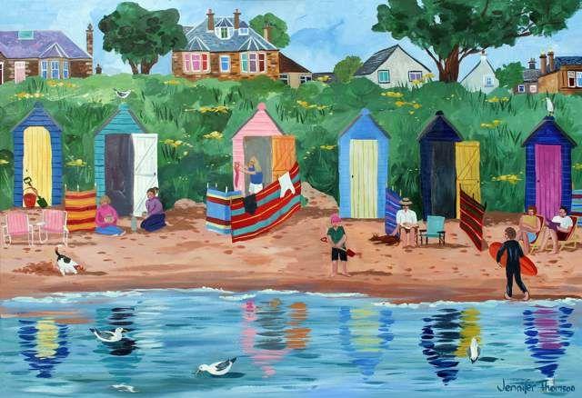 Jennifer Thomson.  A Row of Beach Huts Earlsferry.
