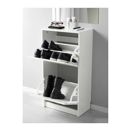 BISSA Shoe cabinet with 2 compartments - white - IKEA