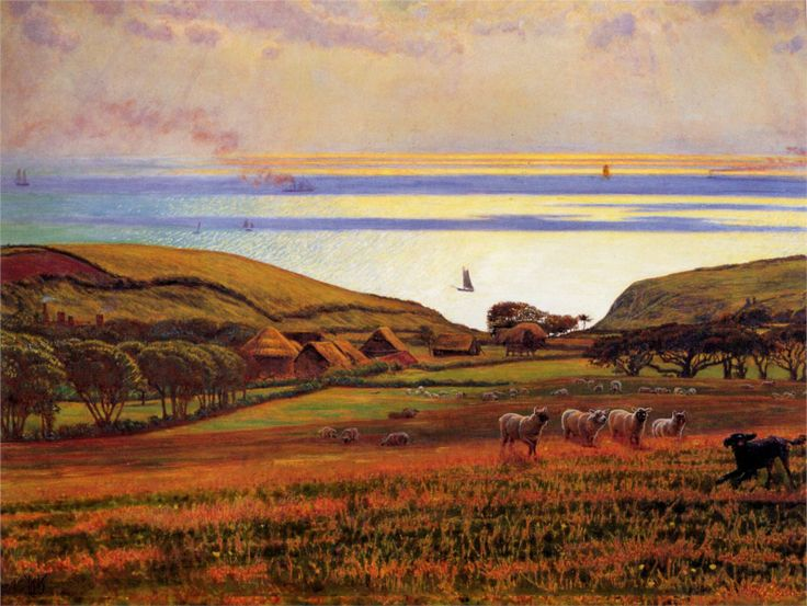 Fairlight Downs, Sunlight on the Sea - William Holman Hunt - WikiPaintings.org