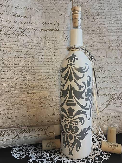Clairet / Fľaša s maľovaným vintage ornamentom