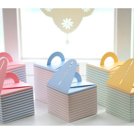 Pink Stripe Blue Handle Gift Box5boxes  95 X by verryberrysticker, $4.99