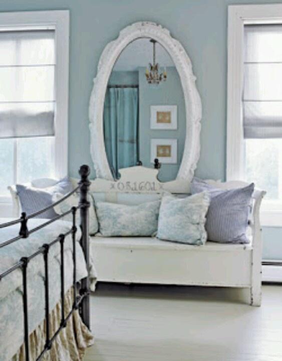Duck egg coloured bedroom