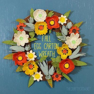 The Crafty Crow fall egg carton wreath craft DIY