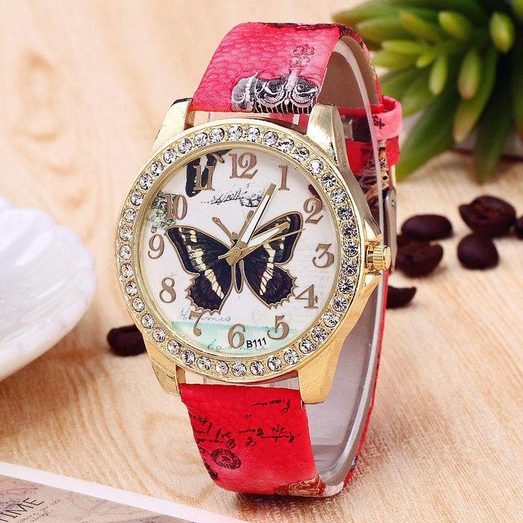 Orologi donna watches women fashion watch 2017 Luxury Brand Women Quartz Watch Ladies Crystal butterfly Leather Watch