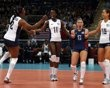Players of the U.S. celebrate a point against China during their women's Group B volleyball match at Earls Court during the London 2012 Olympic Games August 1, 2012. REUTERS/Ivan Alvarado (BRITAIN - Tags: SPORT OLYMPICS SPORT VOLLEYBALL) - http://www.PaulFDavis.com/success-speaker (info@PaulFDavis.com)