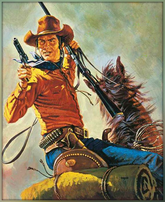 West Art Pistol Drawing Cowboy Pulp Magazine Films Book Illustration Indian Paintings Pistols