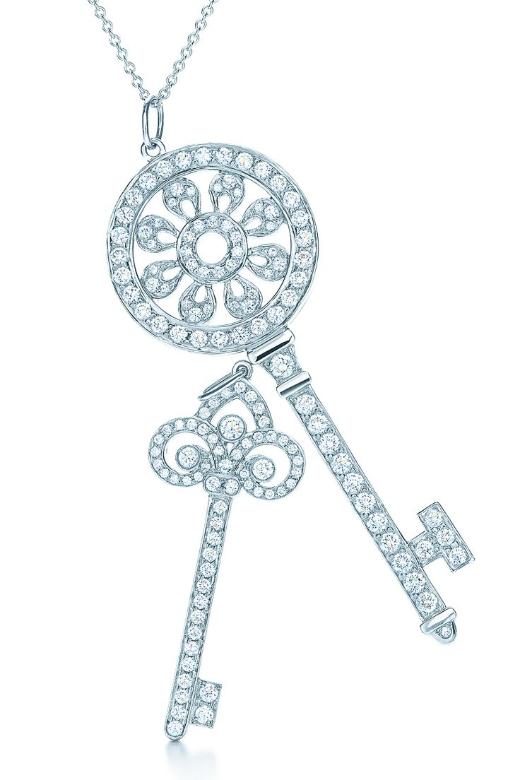 The key to a brilliant summer: Tiffany Keys pendants in platinum with diamonds. #TiffanyPinterest #keys #diamondnecklaces