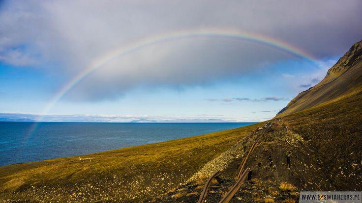 Arctic rainbow during the day. It's quite often seen during polar summer - Spitsbergen, Svalbard.