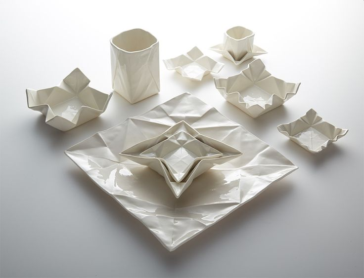 Ceramic Origami Plates and Dishware by Angelina Erhorn