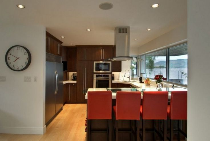 Decoration: Marvelous Elenko Residence Modern Small Kitchen Decor With Dark Brown Kitchen Cabinet Set Also White Quartz Countertop Plus Glass Breakfast Bar With Red Bar Stools Plus Modern Kitchen Extractor: Minimalist Contemporary House For Single Family
