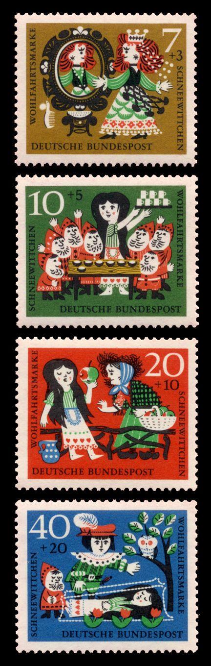 Set of 4 colourful German | Deutsche Bundespost postage stamps
