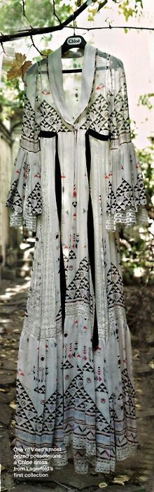 tribal-esque patterns on a white maxi