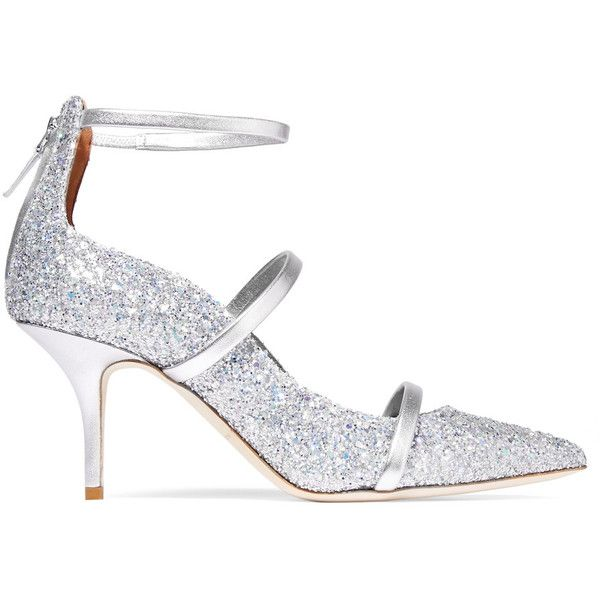 Malone Souliers Robyn glittered leather pumps (£243) ❤ liked on Polyvore featuring shoes, pumps, silver, high heel shoes, leather shoes, leather pumps, real leather shoes and glitter high heel shoes