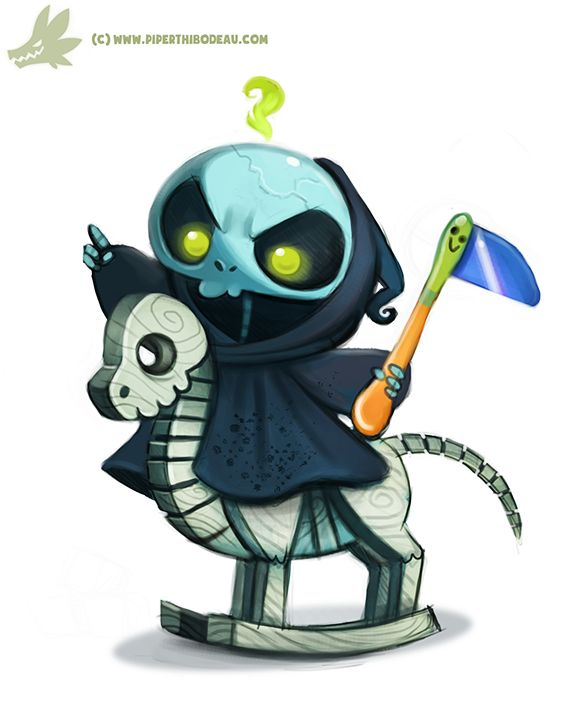 Daily Paint #977. Baby Reaper (OG) by Cryptid-Creations, cute illustration, #death, cute and creepy, wooden horse, digital illustration, inspirational #art