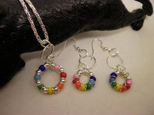 Rainbow Beaded Necklace and Earring Set by ShellysUniqueJewelry for $15.00