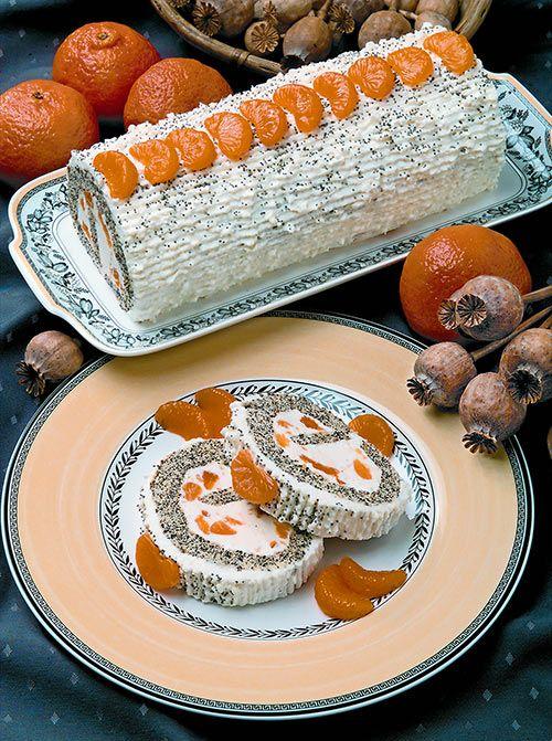 Mohnrolle mit Mandarinencreme
