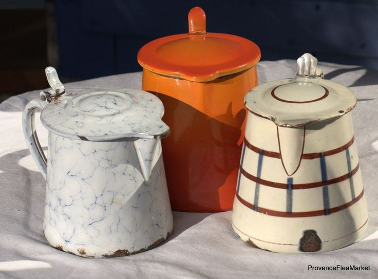 THREE Vintage French enamelware graniteware milk pitcher FREE SHIPPING lu10
