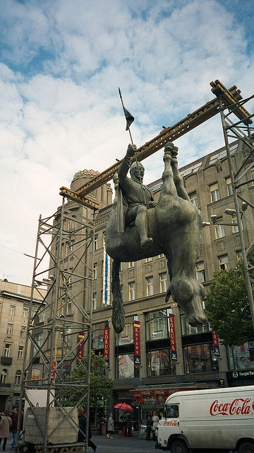 'Hanging Horse' by David Černý, Wenceslas Square, Prague