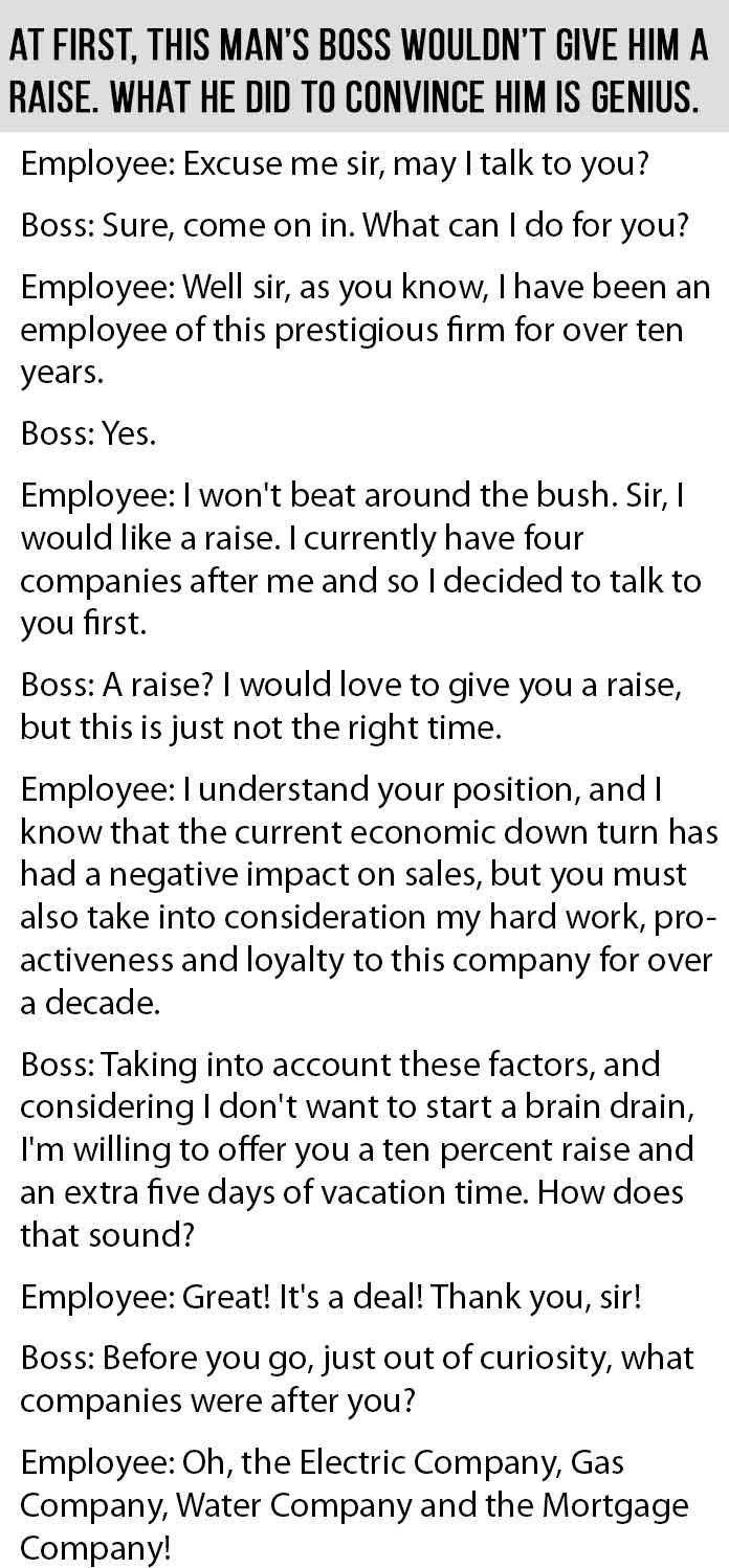 His Boss Was Hesitant To Give Him A Raise What He Did Next Is  His Boss Was Hesitant To Give Him A Raise What He Did Next Is Genius   Just Funny  Pinterest  Funny Boss And Raising