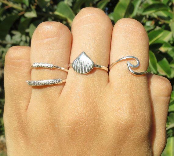SALE 925 Sterling Silver 14K Gold Plated Seashell Ring by ZmirArts