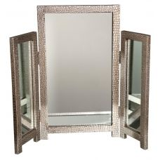 This lovely 3 panel dressing table mirror has been beautifully finished in an antiqued silver/pewter faux leather mock croc overlay, it matches the 2 drawer table, thus making it a dressing table.