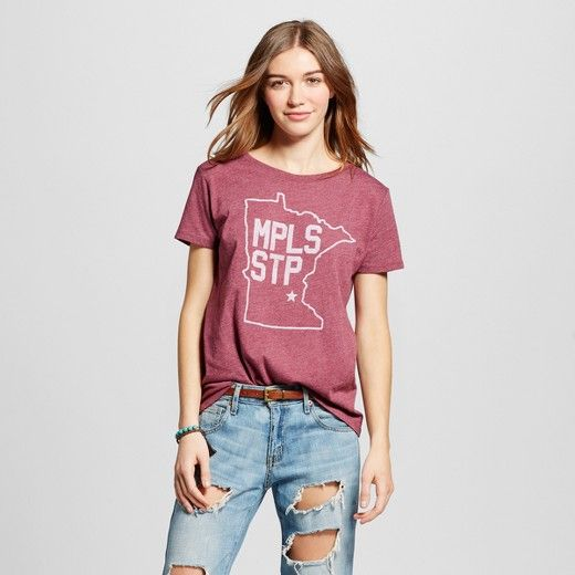 Women's Minneapolis State Stars Tee - Burgundy (Juniors') : Target