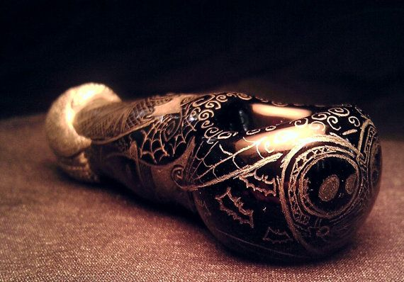 Nightmare Before Christmas Hand Blown and Etched Glass Pipe By Kitty ...